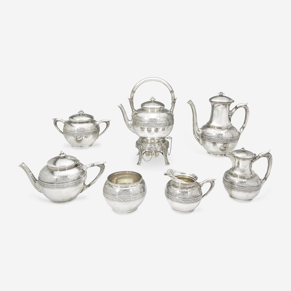 A Neoclassical seven-piece sterling silver tea and coffee service Gorham Mfg. Co., Providence, RI, 1873