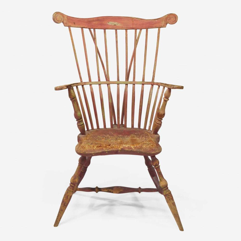 A painted comb-back Windsor armchair late 18th century