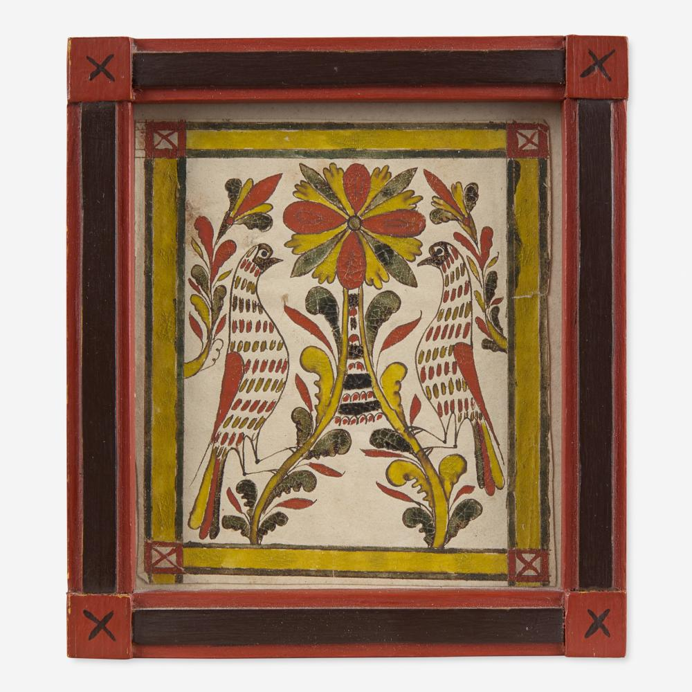 Attributed to George Gerhart (active 1791-1846) Fraktur Bookplate: Flower with Birds, circa 1820-1830