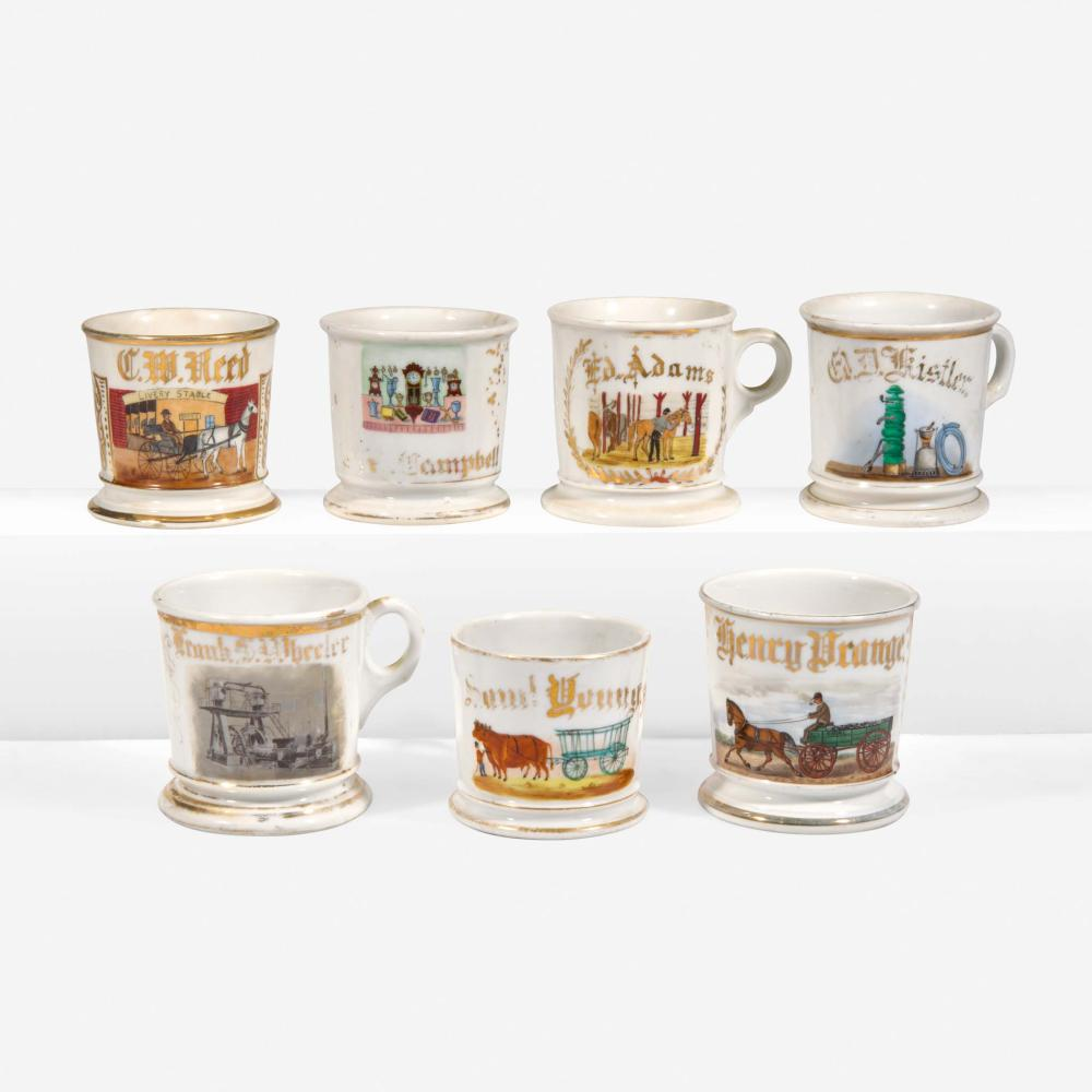 A group of seven occupational porcelain shaving mugs Various Makers, late 19th/early 20th century