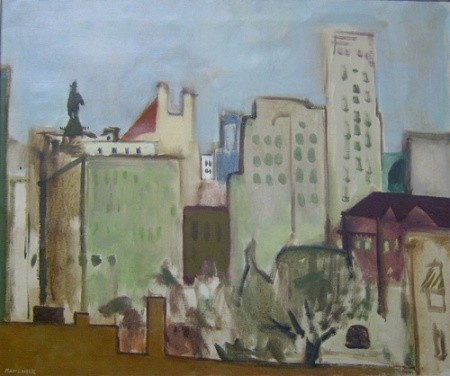 SEYMOUR REMENICK (American 1923-1999)  CITY SCAPE   signed and inscribed verso, oil on canvas 25 x 30 in.