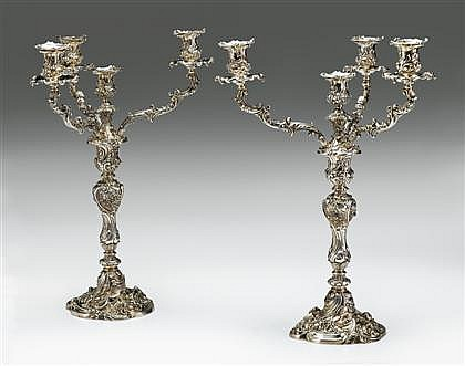 Fine and Large pair of William IV silver three-branch four-light candelabra, edward, edward jr., john and william barnard, london, 1831
