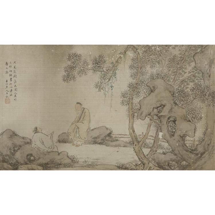 ATTRIBUTED TO HE CHONG (1807-1875), , TWO SAGES IN A GARDEN