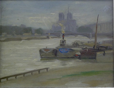 ALBERT JEAN ADOLPHE (American 1865-1940)  THE CATHEDRAL, PARIS  inscribed verso, oil on board 6 x 7 1/2 in. Acco...