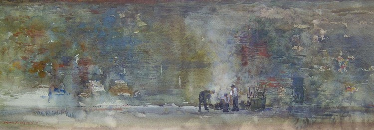 BOGOMIR BOGDANOVIC (American b. 1923)  FIGURES BY A WALL  signed, watercolor 9 1/2 x 31 in.