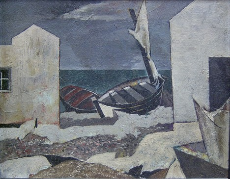 EARL HORTER (American 1881-1940)  BOATS ON THE SHORE  signed and inscribed in pencil verso, oil on board 8 7/8 x 11...