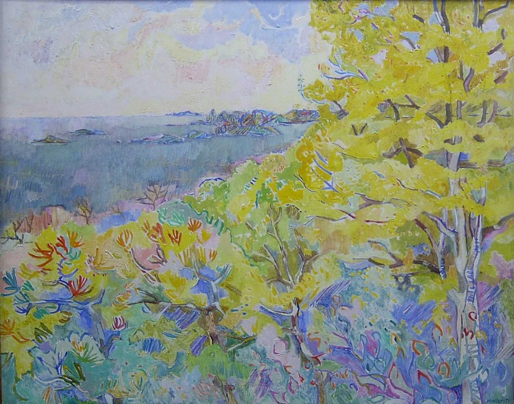 HANS MOLLER (American b. 1905)  SPRING TIME  signed and dated 71, also signed dated and titled on stretcher, oil o...