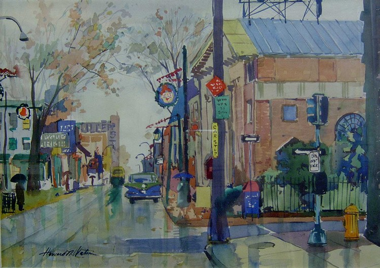 HOWARD WATSON (American 20th Century)  GERMANTOWN AVENUE  signed, watercolor 17 1/2 x 24 1/2 in.