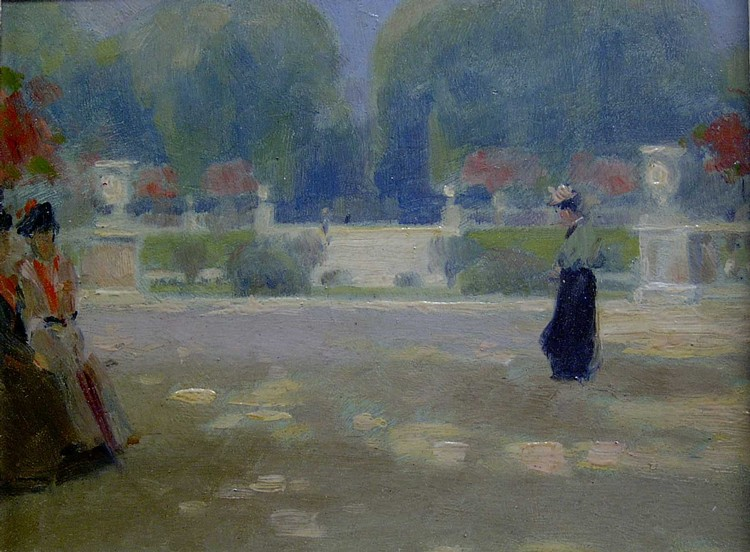 ALBERT JEAN ADOLPHE (American 1865-1940)  A BRIGHT DAY IN THE LUXEMBOURG GARDENS, PARIS  inscribed verso, oil on board...