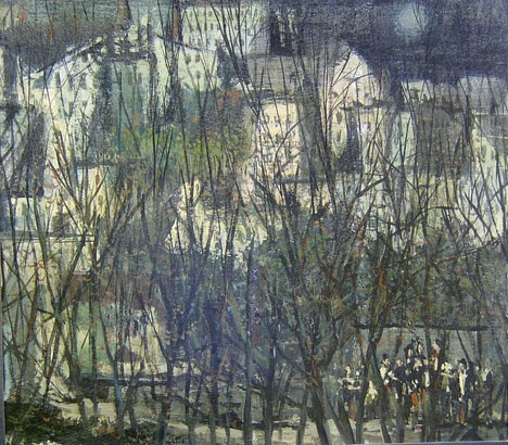 MARTIN JACKSON (American 1919-1986)  LANDSCAPE WITH FIGURES  signed, oil on board 25 1/2 x 28 1/2 in