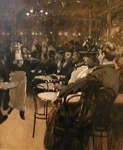 FERDINAND HARVEY LUNGREN (American 1859-1932) CAFE SCENE