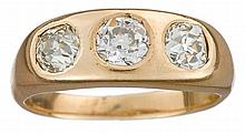 A diamond and fourteen karat gold ring, , gypsy-set with three old mine-cut diamonds; total diamond weight approximately: 0.90 carat.