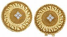A pair of high karat gold and diamond earrings, , textured and polished gold geometric motif, accented by round-cut diamonds; stamped w