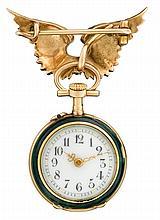 A diamond, enamel and eighteen karat gold pendant watch with fourteen karat gold brooch, , circular white dial with Arabic numerals, me