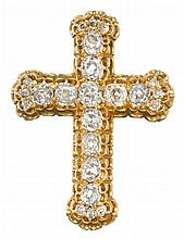 A diamond and fourteen karat gold cross pendant brooch, , set with old mine-cut diamonds; total diamond weight approximately: 2.50 cara