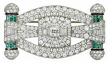 An Art Deco diamond, emerald, enamel and platinum brooch, circa 1930, centering one Asscher-cut diamond weighing approximately: 0.95 ca