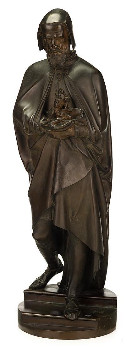 A. E. Carrier Belleuse (French, 1824-1887), michelangelo, Bronze, dark brown patina, depicting the sculptor descending a short flight o