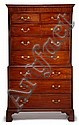 George III style mahogany chest on chest, , In two parts: the upper section with detachable cornice above two short drawers and three g