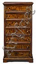 Italian burl walnut chest of drawers, 18th century, The rectangular top with molded edge over seven long drawers raised on shaped brack
