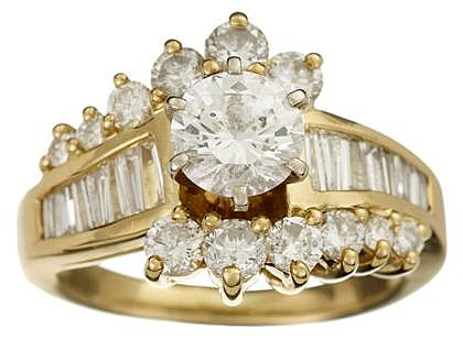 18 karat yellow gold diamond engagement ring, , Center round brilliant cut diamond, approximately 0.85 carats, accented by round cut di