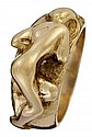 Art Nouveau 18 karat yellow gold female figural ring, ,