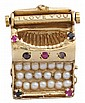 14 karat yellow gold gem set typewriter charm, , Gold typewriter featuring petite pearl 'keys', and accented by petite round cut rubi
