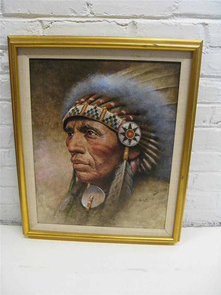 JIM ABEITA, (AMERICAN B. 1947), PORTRAIT OF AN INDIAN CHIEF