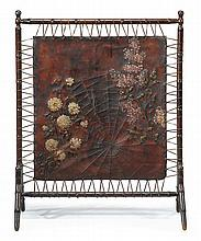 Aesthetic movement leather and beech wood fire screen, circa 1880, The square leather panel tooled and painted to depict a spider and c