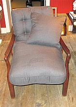 Chinese hardwood lounge chair, mid-20th century, The slatted back below straight crest rail issuing downswept arms on shaped supports a