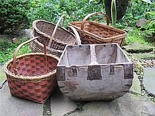 Group of five woven and fabricated baskets, 19th-20th century, Including Japanaese painted wood basket with iron mounts, Joyce Schaum a