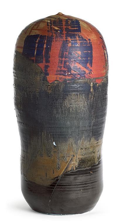 Toshiko Takaezu (American, 1922-2011) tall glazed porcelain Closed Form, clinton, nj, In indigo, raspberry, mottled grey/brown and matt