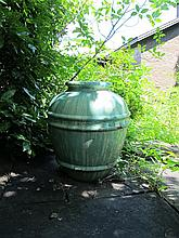 Green turquoise glazed garden urn, , The large ovoid form with bands to body.