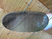 Large wicker boat-form basket, ladder and hay rake, ,