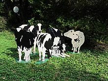 Woody Jackson (American, 20th century) six painted wood cows, circa 1983, Each signed and dated by the artist.