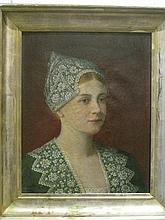 ENOCH WOOD PERRY, (AMERICAN 1831-1905), BUST OF A WOMAN IN GREEN WITH LACE HAT
