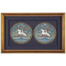 A pair of Chinese kesi tapestry fifth civil rank 'silver pheasants' roundels, guangxu period (1875-1908)