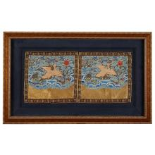 A pair of Chinese couched gold and silk embroidered fourth civil rank ''wild goose'' badges, 19th century