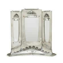 A Jugendstil pewter Dressing Table mirror, Probably German, circa 1905