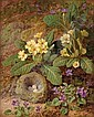 THOMAS WORSEY, (BRITISH 1829-1875), PRIMULA AND VIOLETS ON A MOSSY BANK WITH BIRDS NEST, Thomas Worsey, Click for value