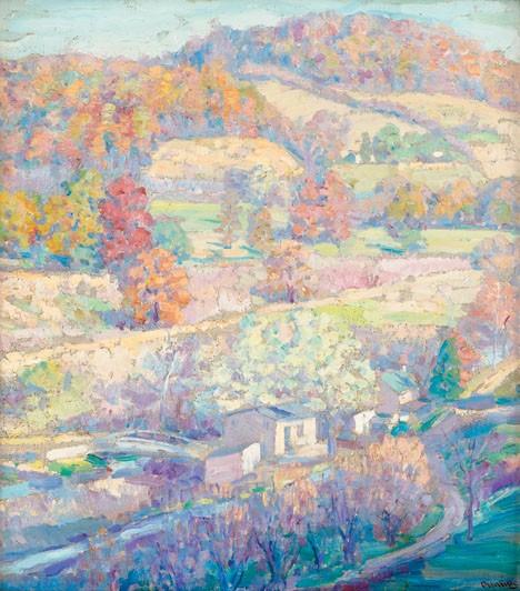 SAMUEL GEORGE PHILLIPS, (AMERICAN 1890-1965), BUCKS COUNTY TAPESTRY