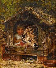 JOSEPH HENRY SHARP, (AMERICAN 1859-1953), GIRL AND DOG IN DOG HOUSE
