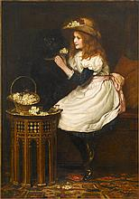 AMERICAN SCHOOL, (LATE 19TH CENTURY), YOUNG GIRL WITH HER DOG