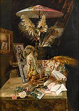 AMERICAN SCHOOL, (EARLY 20TH CENTURY), STILL LIFE WITH PICTURES AND PEACOCK FEATHERS