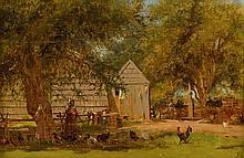 JERVIS MCENTEE, (AMERICAN 1828-1891), THE FARMYARD, UPSTATE NEW YORK