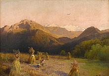 HERMANN HERZOG, (AMERICAN/GERMAN 1831-1932), WHEAT HARVEST