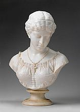 WILLIAM COUPER, (AMERICAN 1853-1942), BUST OF MAIDEN WITH NECKLACE