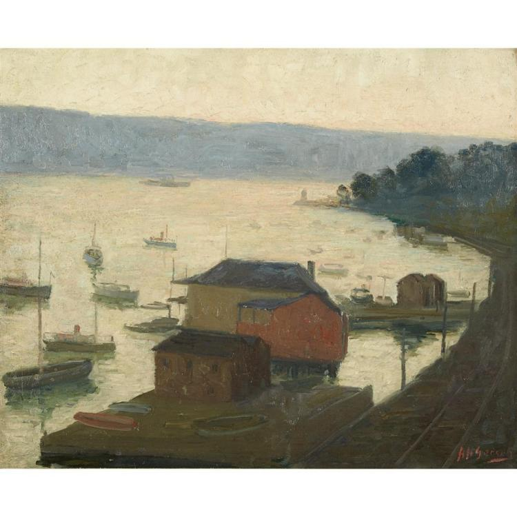 AARON HARRY GORSON, (AMERICAN 1872-1933), HUDSON RIVER, PALISADES IN THE DISTANCE