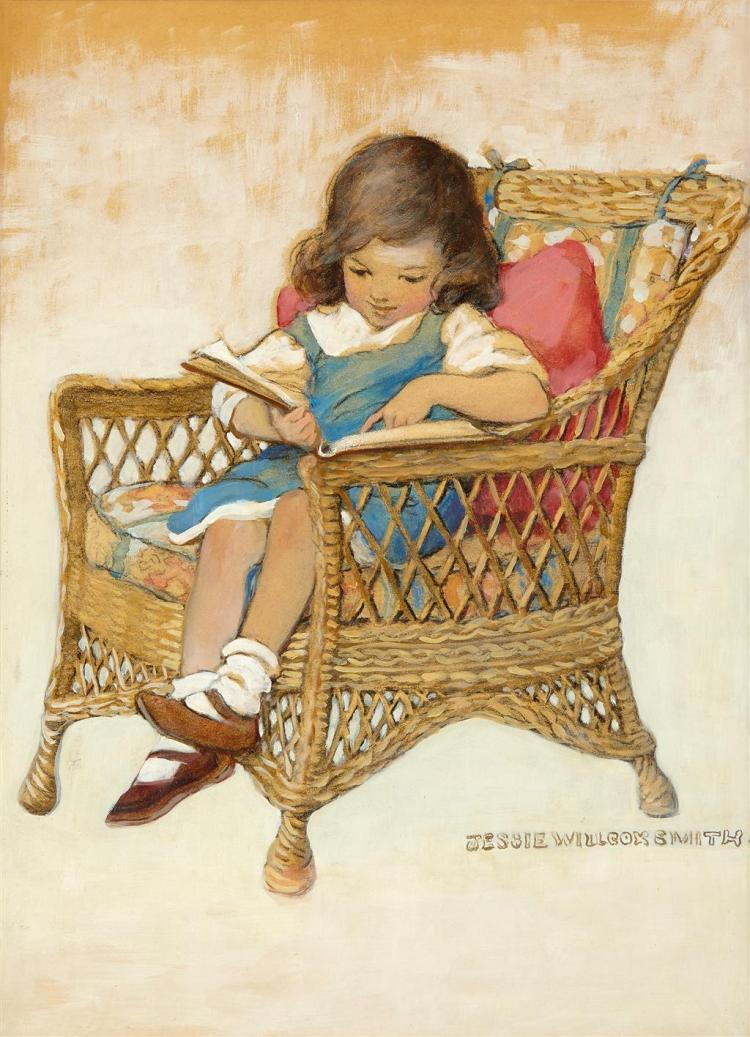 JESSIE WILLCOX SMITH, (AMERICAN 1863-1935), SEATED YOUNG GIRL READING A BOOK