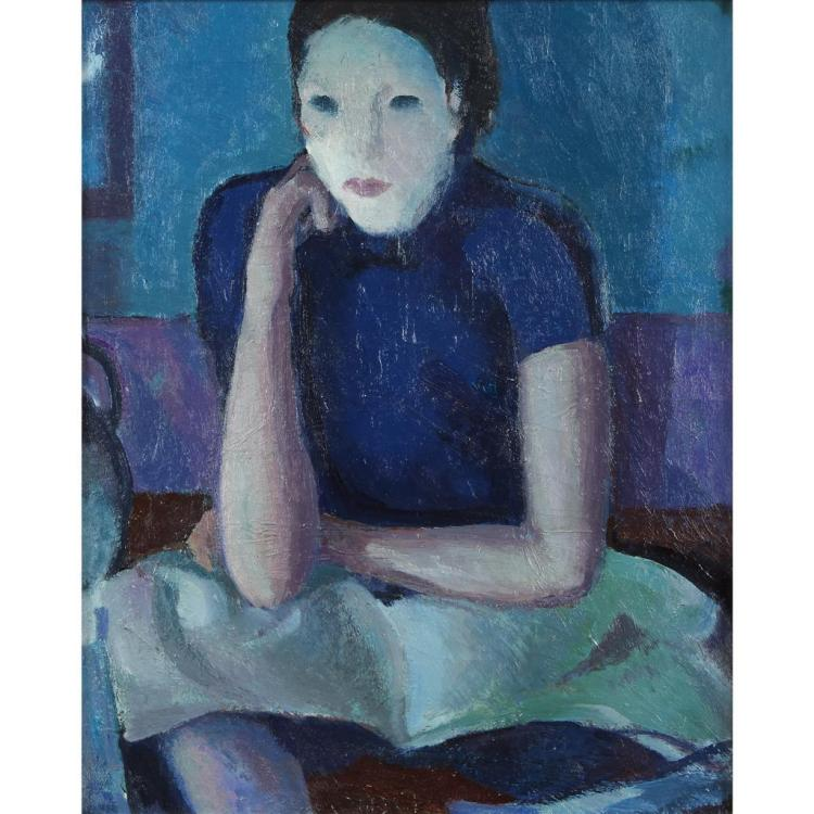 ROBERT HOGUE, (AMERICAN 1901-1966), UNTITLED (WOMAN IN BLUE)
