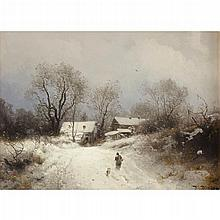 HERMANN HERZOG, (AMERICAN/GERMAN 1832-1932), PENNSYLVANIA FARM IN WINTER
